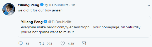 Doublelift:这一切都是为了我们的男孩Jensen